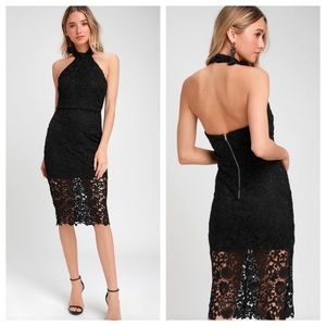 Lulu's Black Lace Halter Midi Dress. Backless. NWT